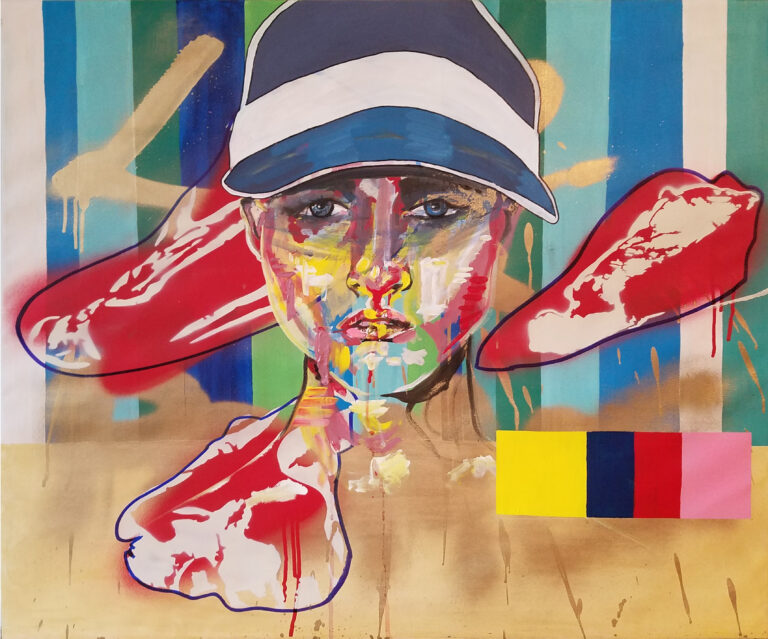 girl with visor and meat